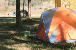 Camping and tent in forest