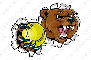 Bear Holding Tennis Ball Breaking