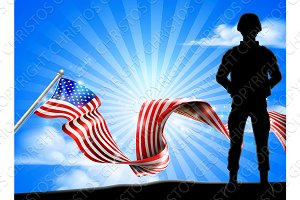 Patriotic Soldier American Flag