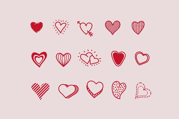 15 Heart Doodle Icons Pre Designed Photoshop Graphics Creative Market This is a huge bundle of printable digital heart stamps, a variety for hand drawn heart doodles decorative elements for valentine, mother's day, wedding or any. 15 heart doodle icons