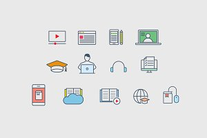 15 E-Learning Online Course Icons