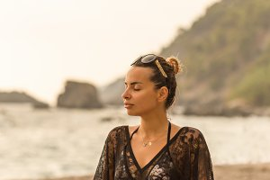 Summer lifestyle. Female meditating
