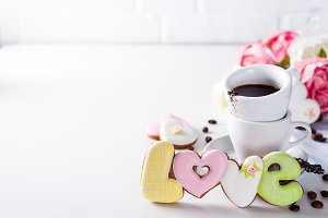 Shaped cookies Love and coffee cup