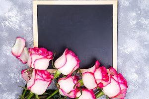 Floral frame composition with roses