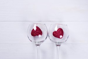 Wine Glass and Red Hearts on