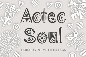 Aztec Soul. Tribal font with extras.