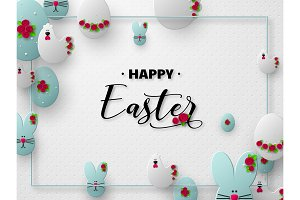 3d paper cur Easter holiday design.