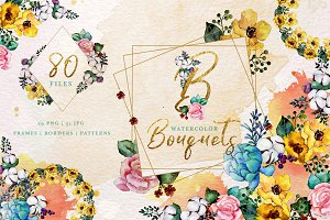 Bouquets yellow Watercolor png