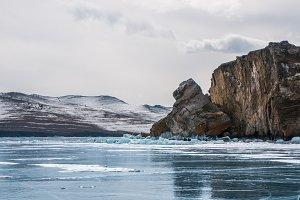 Rocky shore of Baikal lake