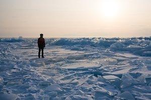 A man among the ice
