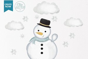 watercolor snowman clip art winter