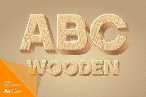 Three-dimensional wooden alphabet.