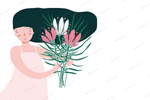 Cute girl holding bouquet of flowers
