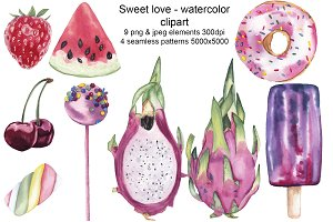Sweet Valentine watercolor clipart
