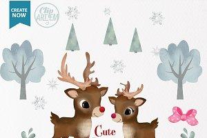 Watercolor Reindeer boy girl clipart