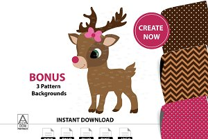 Girl Reindeer digital clipart bowtie