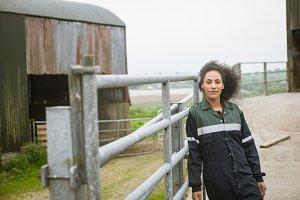 Female farmer standing in field