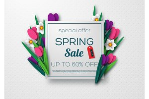 Spring sale banner with paper cut