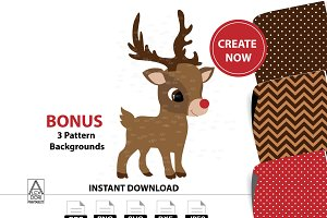 Cute boy Reindeer digital clipart