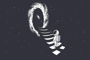 astronaut climbs into wormhole