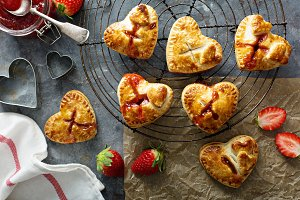 Heart shaped strawberry hand pies