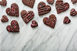 Chocolate cookies with sprinkles for