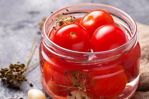 Homemade pickled cherry tomato