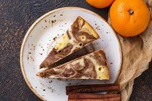 Homemade marble cake with chocolate