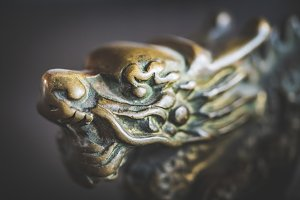 Antique chinese dragon door handle