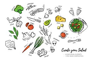 Create your salad. Illustrations