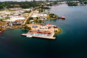 Aerial view to Madang bay and city,