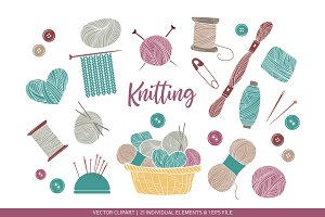 Set of knitting and crafts.