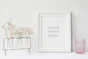 Pink glass and flowers frame mock up