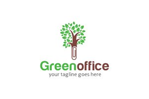 Green Office Logo Template Design