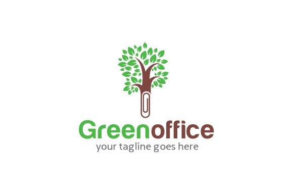 Green Office Logo Template Design