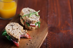 Homemade sandwiches prepared with fr
