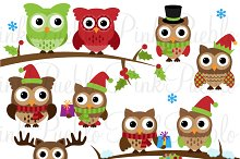 Cute Christmas Owl Clipart & Vectors