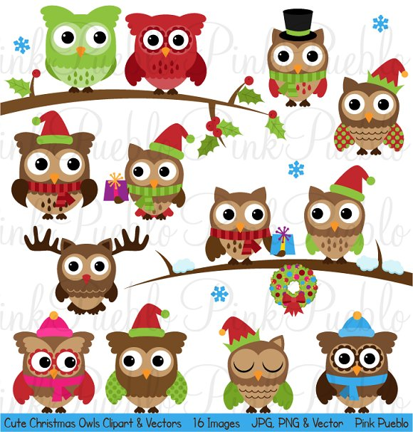 Cute Christmas Owl Clipart & Vectors ~ Illustrations ...