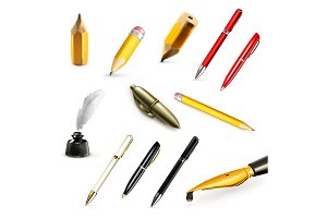 Pens and pencils icons