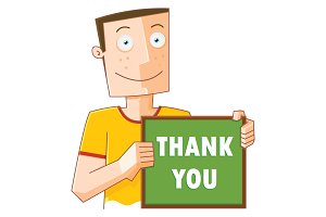 happy man with thank you board