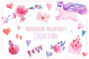 Watercolor Valentine's Collection