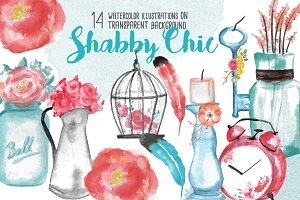 Shabby Chic watercolor illustrations