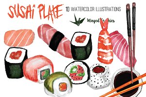 sushi illustration set