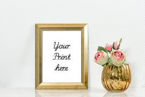 Picture mockup with golden frame PSD