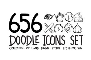 656 Hand Drawn doodle Icons
