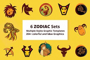 6 zodiac sets 204+ illustrations