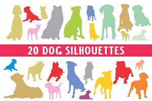 20 Dog silhouettes in vector