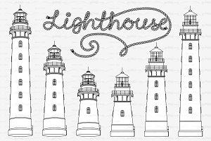 ♡ vector outline lighthouse
