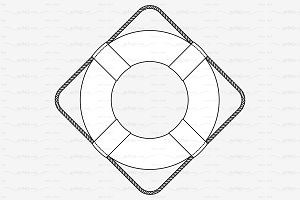 ♡ vector outline lifebuoy