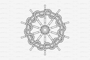 ♡ vector outline handwheel with rope
